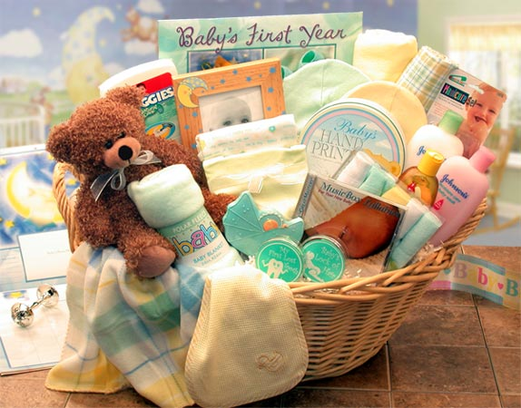 Baby Gift Baskets - Deluxe Welcome Home Precious  Baby Basket     Available in Pink, Blue or Teal LG