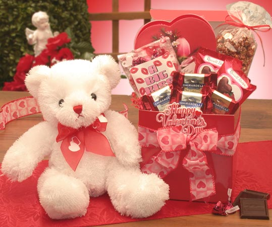 Valentines Gift Baskets - A Big Kiss For You  Valentines Day Care Package